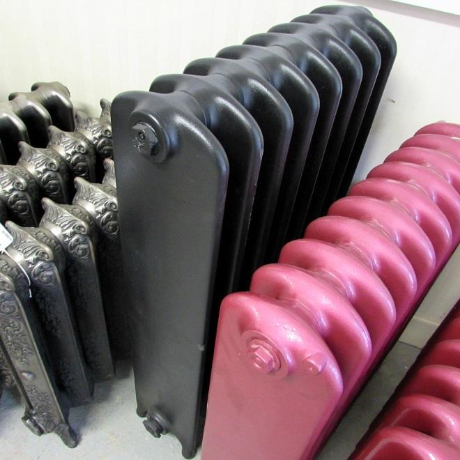 Black wide school cast iron radiator