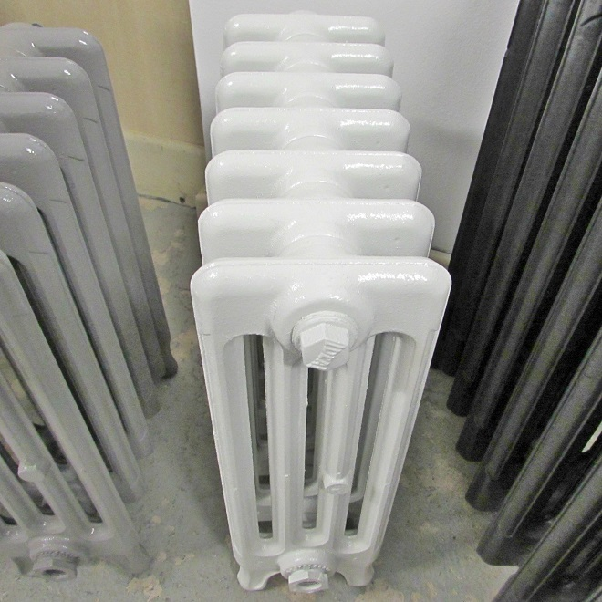 Bright white Victorian radiator
