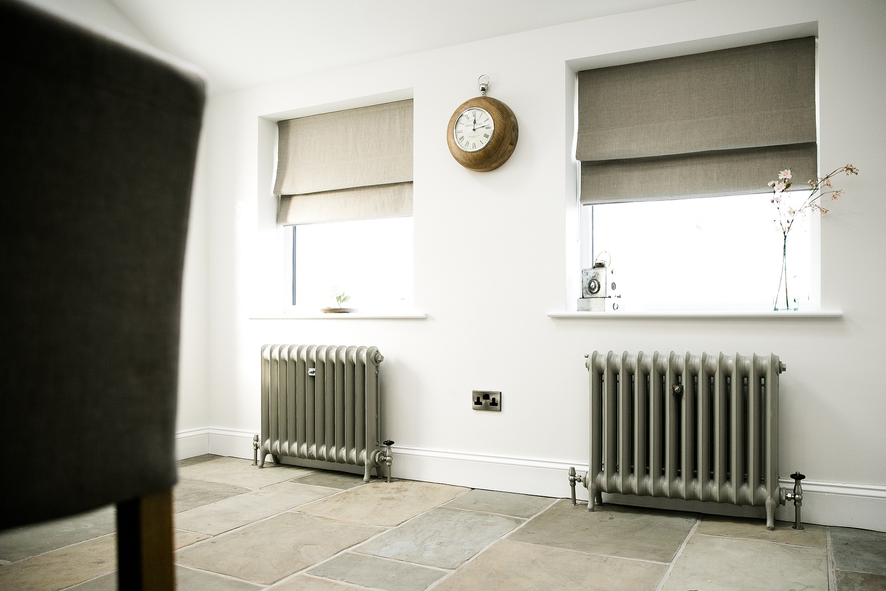 Pair of reclaimed Duchess Cast Iron Radiators painted beige grey